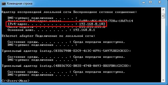 данные по айпи адресу в командной строке