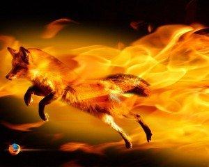 лисица в огненном пламени